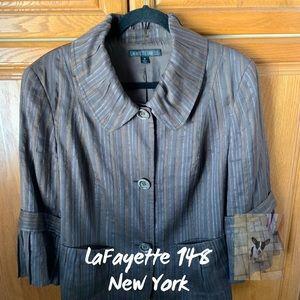 Lafayette 148 NY Brown pinstriped jacket size 16